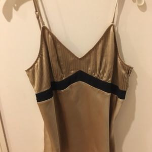 Ladies dressy camisole top size s gold and black
